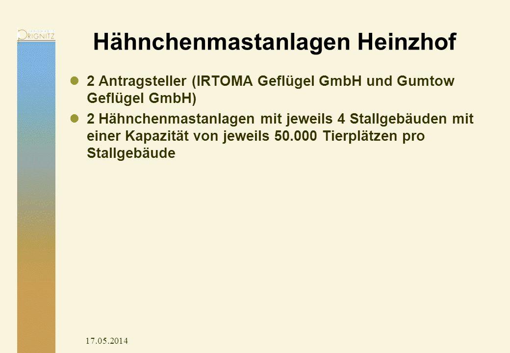 17.05.2014 Hähnchenmastanlagen Heinzhof 2 Antragsteller (IRTOMA Geflügel GmbH und Gumtow Geflügel GmbH) 2 Hähnchenmastanlagen mit jeweils 4 Stallgebäuden mit einer Kapazität von jeweils 50.000 Tierplätzen pro Stallgebäude