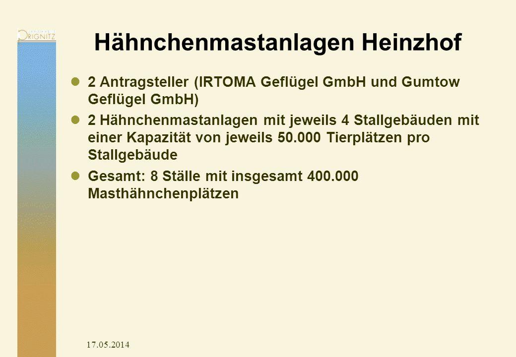 17.05.2014 Hähnchenmastanlagen Heinzhof 2 Antragsteller (IRTOMA Geflügel GmbH und Gumtow Geflügel GmbH) 2 Hähnchenmastanlagen mit jeweils 4 Stallgebäuden mit einer Kapazität von jeweils 50.000 Tierplätzen pro Stallgebäude Gesamt: 8 Ställe mit insgesamt 400.000 Masthähnchenplätzen