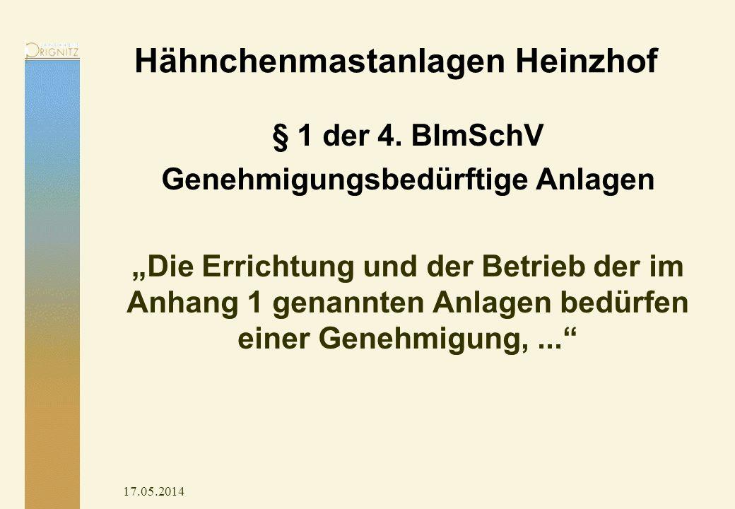 Hähnchenmastanlagen Heinzhof § 1 der 4. BImSchV Genehmigungsbedürftige Anlagen Die Errichtung und der Betrieb der im Anhang 1 genannten Anlagen bedürf