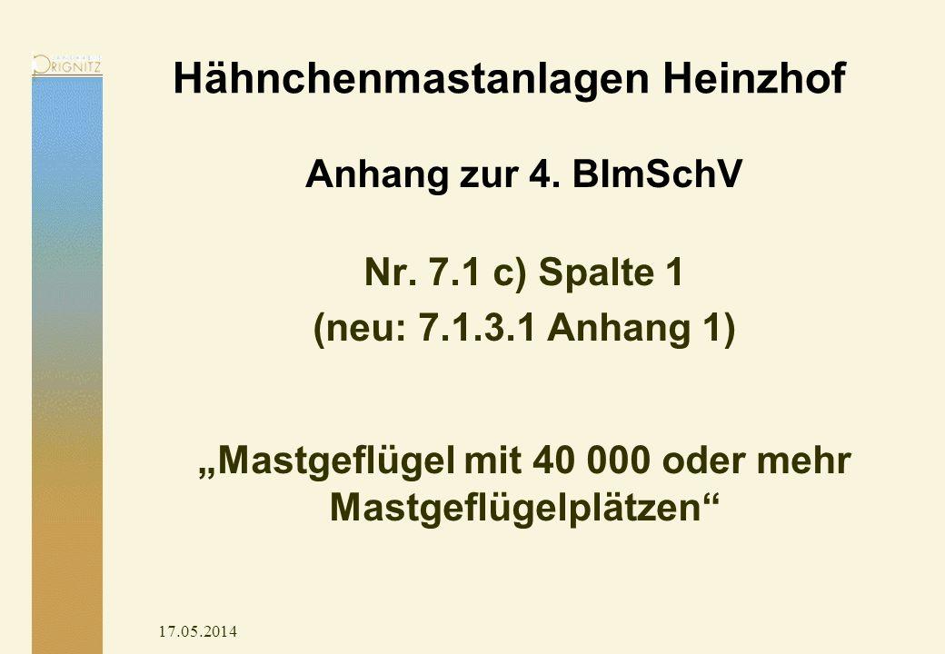 Hähnchenmastanlagen Heinzhof Anhang zur 4. BImSchV Nr. 7.1 c) Spalte 1 (neu: 7.1.3.1 Anhang 1) Mastgeflügel mit 40 000 oder mehr Mastgeflügelplätzen 1