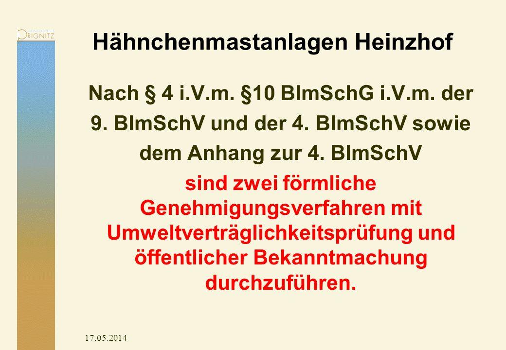 Hähnchenmastanlagen Heinzhof Nach § 4 i.V.m. §10 BImSchG i.V.m. der 9. BImSchV und der 4. BImSchV sowie dem Anhang zur 4. BImSchV sind zwei förmliche