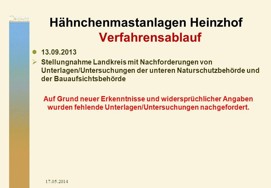 Hähnchenmastanlagen Heinzhof 17.05.2014 13.09.2013 Stellungnahme Landkreis mit Nachforderungen von Unterlagen/Untersuchungen der unteren Naturschutzbe