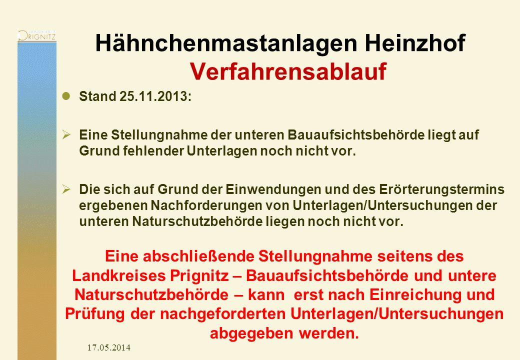 Hähnchenmastanlagen Heinzhof 17.05.2014 Stand 25.11.2013: Eine Stellungnahme der unteren Bauaufsichtsbehörde liegt auf Grund fehlender Unterlagen noch nicht vor.
