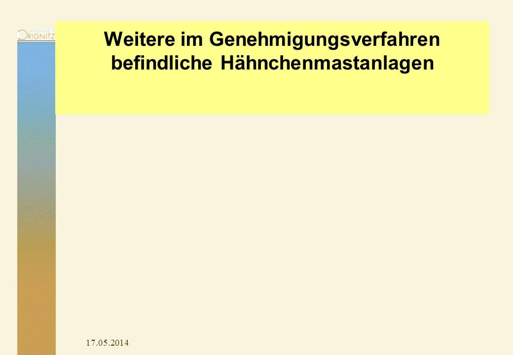 17.05.2014 Weitere im Genehmigungsverfahren befindliche Hähnchenmastanlagen
