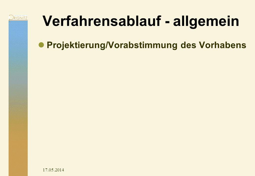 17.05.2014 Verfahrensablauf - allgemein Projektierung/Vorabstimmung des Vorhabens