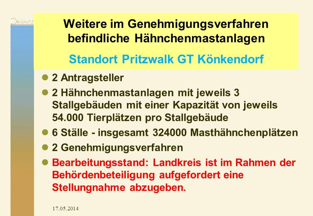 17.05.2014 Weitere im Genehmigungsverfahren befindliche Hähnchenmastanlagen Standort Pritzwalk GT Könkendorf 2 Antragsteller 2 Hähnchenmastanlagen mit jeweils 3 Stallgebäuden mit einer Kapazität von jeweils 54.000 Tierplätzen pro Stallgebäude 6 Ställe - insgesamt 324000 Masthähnchenplätzen 2 Genehmigungsverfahren Bearbeitungsstand: Landkreis ist im Rahmen der Behördenbeteiligung aufgefordert eine Stellungnahme abzugeben.
