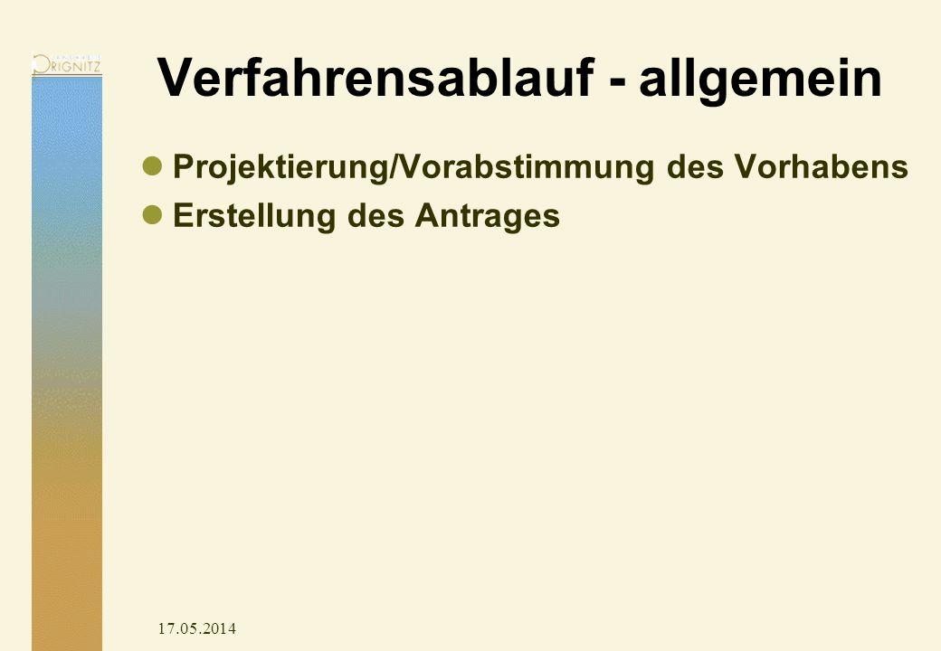 17.05.2014 Verfahrensablauf - allgemein Projektierung/Vorabstimmung des Vorhabens Erstellung des Antrages