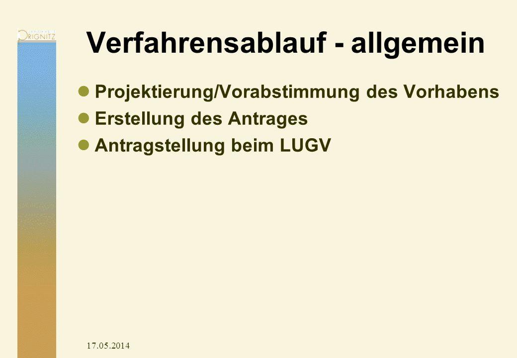17.05.2014 Verfahrensablauf - allgemein Projektierung/Vorabstimmung des Vorhabens Erstellung des Antrages Antragstellung beim LUGV