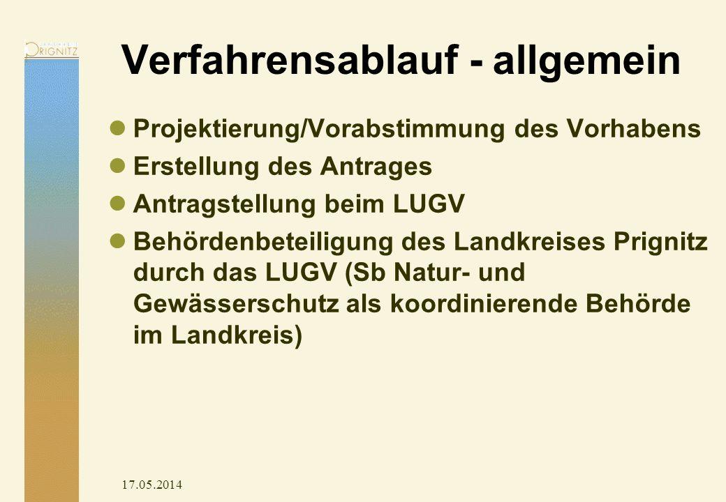 17.05.2014 Verfahrensablauf - allgemein Projektierung/Vorabstimmung des Vorhabens Erstellung des Antrages Antragstellung beim LUGV Behördenbeteiligung