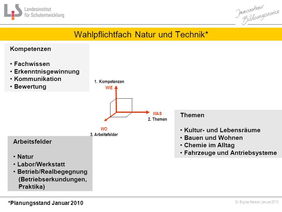 Von Bildungsstandards zu kompetenzorientiertem Unterricht Dr. Brigitte Weiske / Januar 2010 Wahlpflichtfach Natur und Technik* WAS 2. Themen 1. Kompet