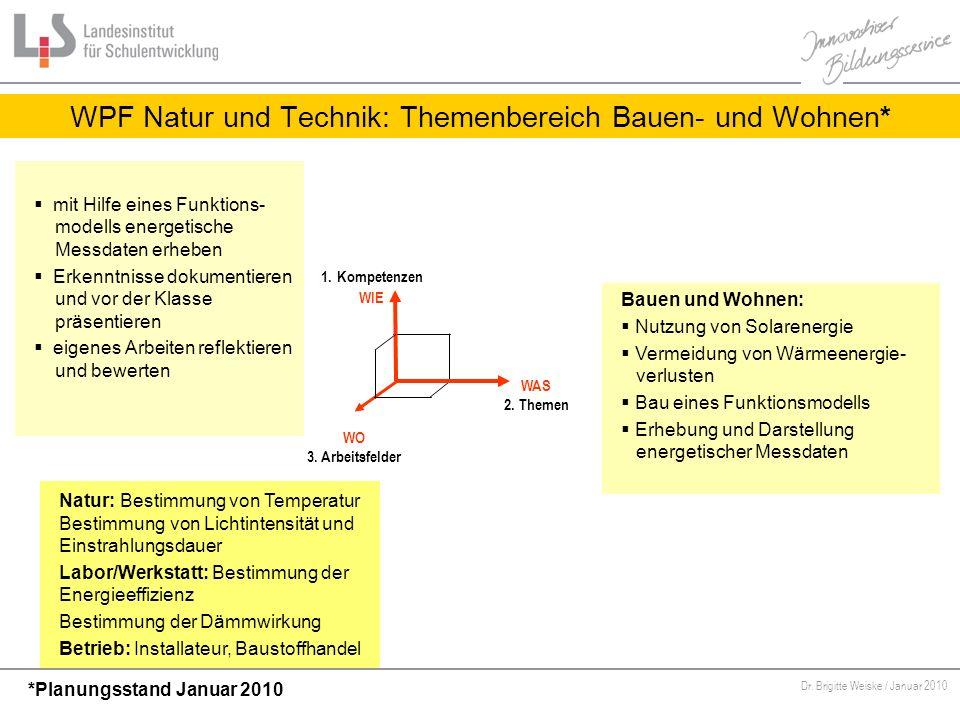 Von Bildungsstandards zu kompetenzorientiertem Unterricht Dr. Brigitte Weiske / Januar 2010 WPF Natur und Technik: Themenbereich Bauen- und Wohnen* WA