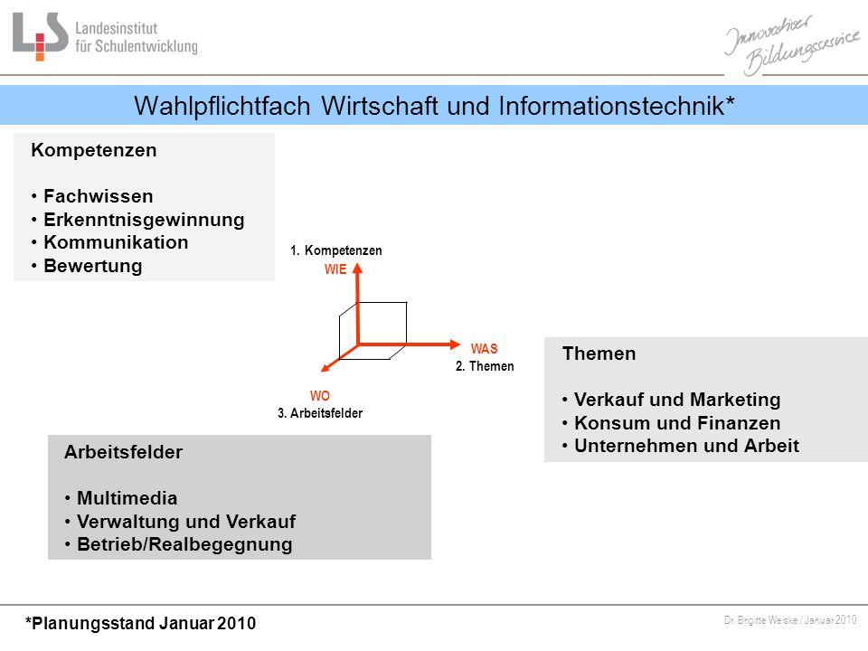 Von Bildungsstandards zu kompetenzorientiertem Unterricht Dr. Brigitte Weiske / Januar 2010 Wahlpflichtfach Wirtschaft und Informationstechnik* WAS 2.