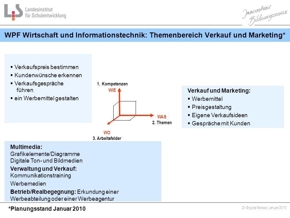 Von Bildungsstandards zu kompetenzorientiertem Unterricht Dr. Brigitte Weiske / Januar 2010 WPF Wirtschaft und Informationstechnik: Themenbereich Verk