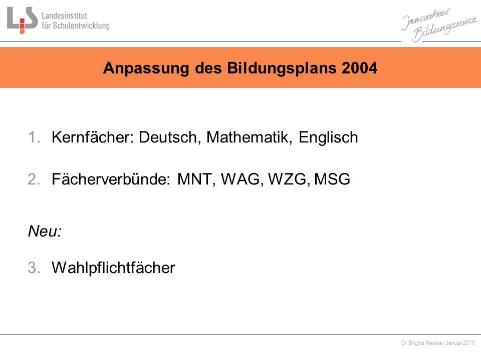 Von Bildungsstandards zu kompetenzorientiertem Unterricht Dr. Brigitte Weiske / Januar 2010 Anpassung des Bildungsplans 2004 1.Kernfächer: Deutsch, Ma