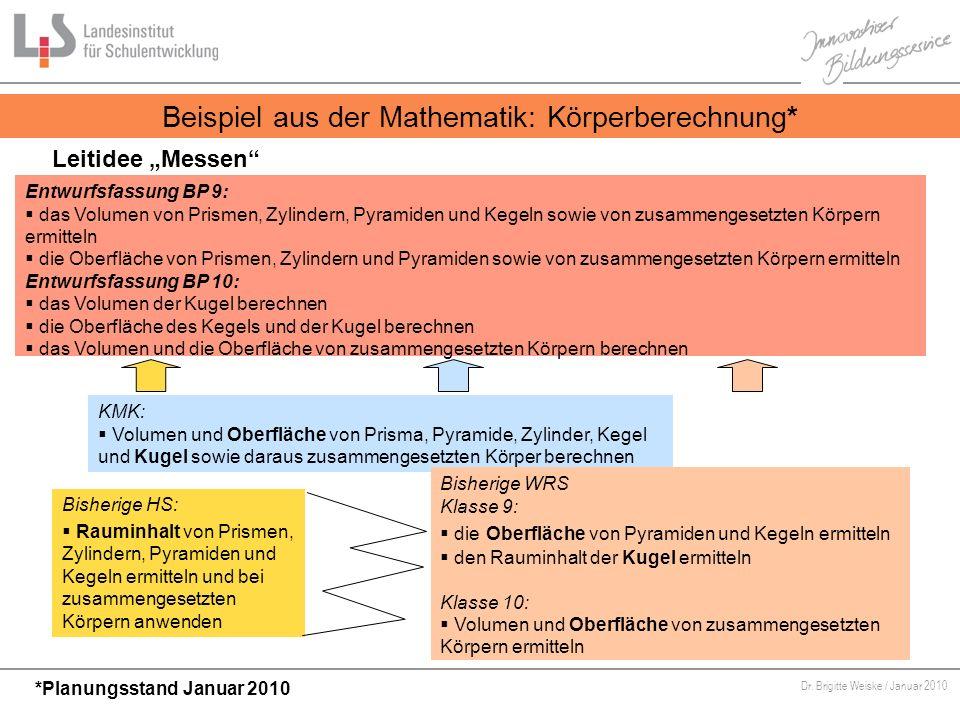 Von Bildungsstandards zu kompetenzorientiertem Unterricht Dr. Brigitte Weiske / Januar 2010 KMK: Volumen und Oberfläche von Prisma, Pyramide, Zylinder