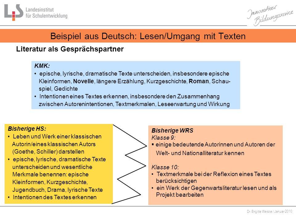 Von Bildungsstandards zu kompetenzorientiertem Unterricht Dr. Brigitte Weiske / Januar 2010 KMK: epische, lyrische, dramatische Texte unterscheiden, i