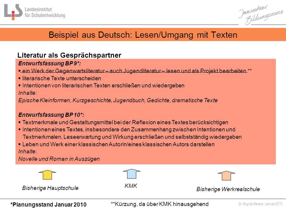Von Bildungsstandards zu kompetenzorientiertem Unterricht Dr. Brigitte Weiske / Januar 2010 Beispiel aus Deutsch: Lesen/Umgang mit Texten Literatur al