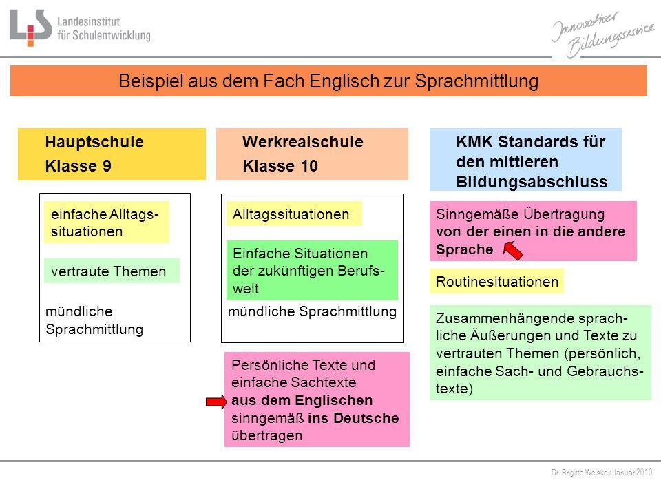 Von Bildungsstandards zu kompetenzorientiertem Unterricht Dr. Brigitte Weiske / Januar 2010 Beispiel aus dem Fach Englisch zur Sprachmittlung Hauptsch