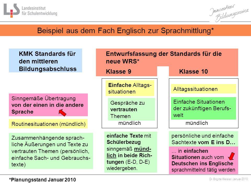 Von Bildungsstandards zu kompetenzorientiertem Unterricht Dr. Brigitte Weiske / Januar 2010 KMK Standards für den mittleren Bildungsabschluss Sinngemä