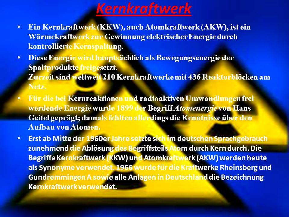 Kernkraftwerk E in Kernkraftwerk (KKW), auch Atomkraftwerk (AKW), ist ein Wärmekraftwerk zur Gewinnung elektrischer Energie durch kontrollierte Kernsp