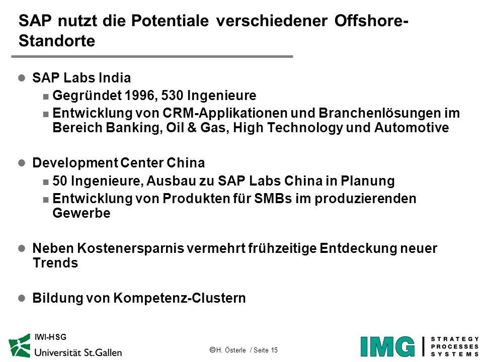 H. Österle / Seite 15 IWI-HSG SAP nutzt die Potentiale verschiedener Offshore- Standorte l SAP Labs India n Gegründet 1996, 530 Ingenieure n Entwicklu