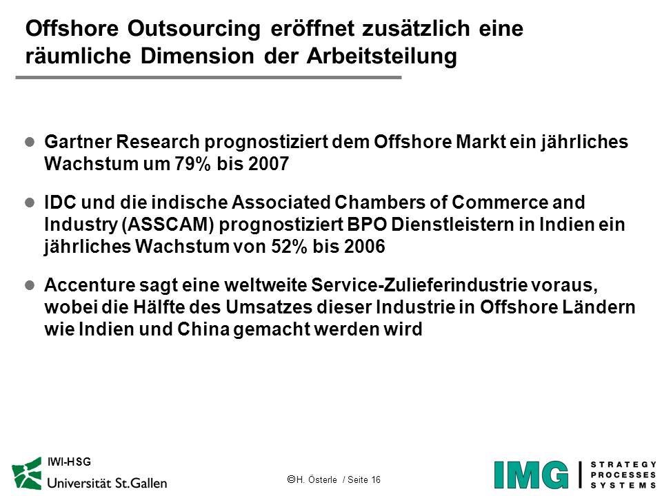 H. Österle / Seite 16 IWI-HSG Offshore Outsourcing eröffnet zusätzlich eine räumliche Dimension der Arbeitsteilung l Gartner Research prognostiziert d