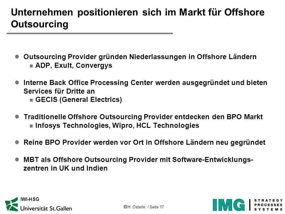 H. Österle / Seite 17 IWI-HSG Unternehmen positionieren sich im Markt für Offshore Outsourcing l Outsourcing Provider gründen Niederlassungen in Offsh