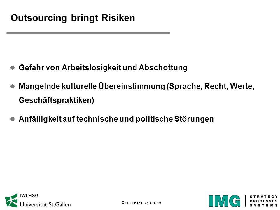 H. Österle / Seite 19 IWI-HSG Outsourcing bringt Risiken l Gefahr von Arbeitslosigkeit und Abschottung l Mangelnde kulturelle Übereinstimmung (Sprache