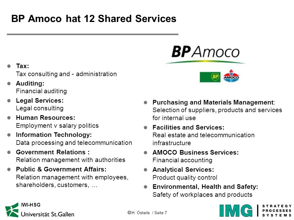 H. Österle / Seite 7 IWI-HSG BP Amoco hat 12 Shared Services l Tax: Tax consulting and - administration l Auditing: Financial auditing l Legal Service
