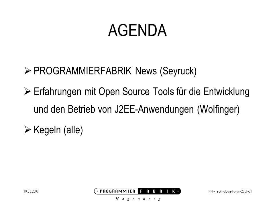 10.03.2006PFH-Technologie-Forum-2006-01 PROGRAMMIERFABRIK News Verstärkte Kooperation mit BI-Marktführer SAS Neuer Vertriebsleiter für BI: Dirk H.