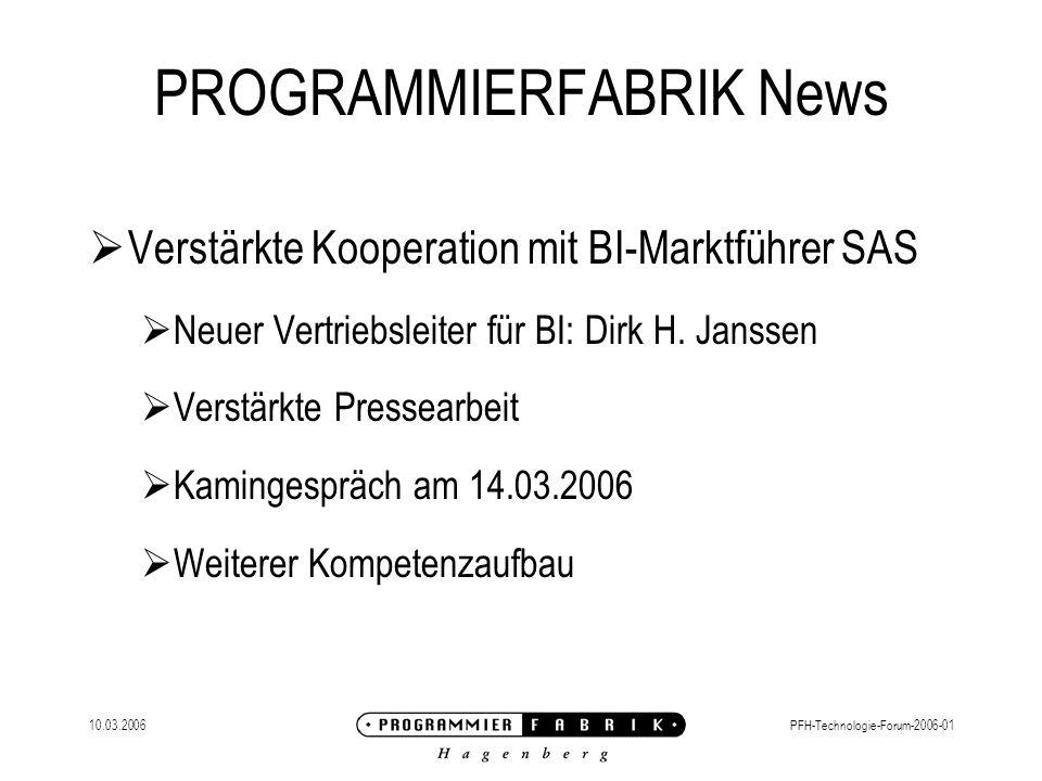 10.03.2006PFH-Technologie-Forum-2006-01 PROGRAMMIERFABRIK News Firmenseminar – Projekt-Management 29.