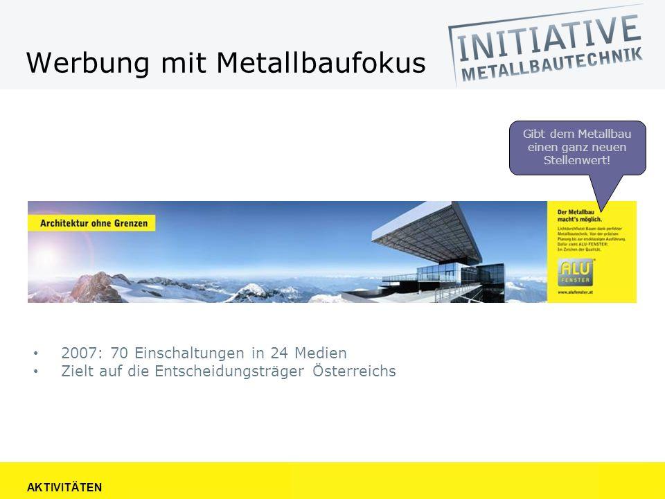 Werbung mit Metallbaufokus 2007: 70 Einschaltungen in 24 Medien Zielt auf die Entscheidungsträger Österreichs AKTIVITÄTEN Gibt dem Metallbau einen ganz neuen Stellenwert!