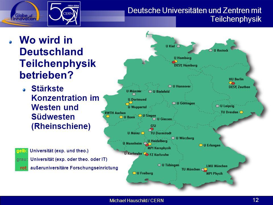 Michael Hauschild / CERN 12 Deutsche Universitäten und Zentren mit Teilchenphysik Wo wird in Deutschland Teilchenphysik betrieben? Stärkste Konzentrat