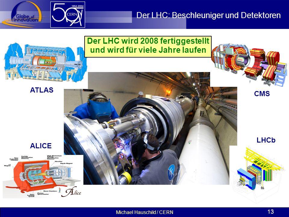 Michael Hauschild / CERN 13 Der LHC: Beschleuniger und Detektoren ATLAS ALICE CMS LHCb Der LHC wird 2008 fertiggestellt und wird für viele Jahre laufe
