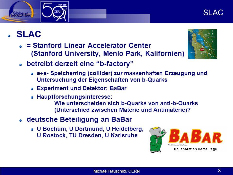 Michael Hauschild / CERN 3 SLAC = Stanford Linear Accelerator Center (Stanford University, Menlo Park, Kalifornien) betreibt derzeit eine b-factory e+