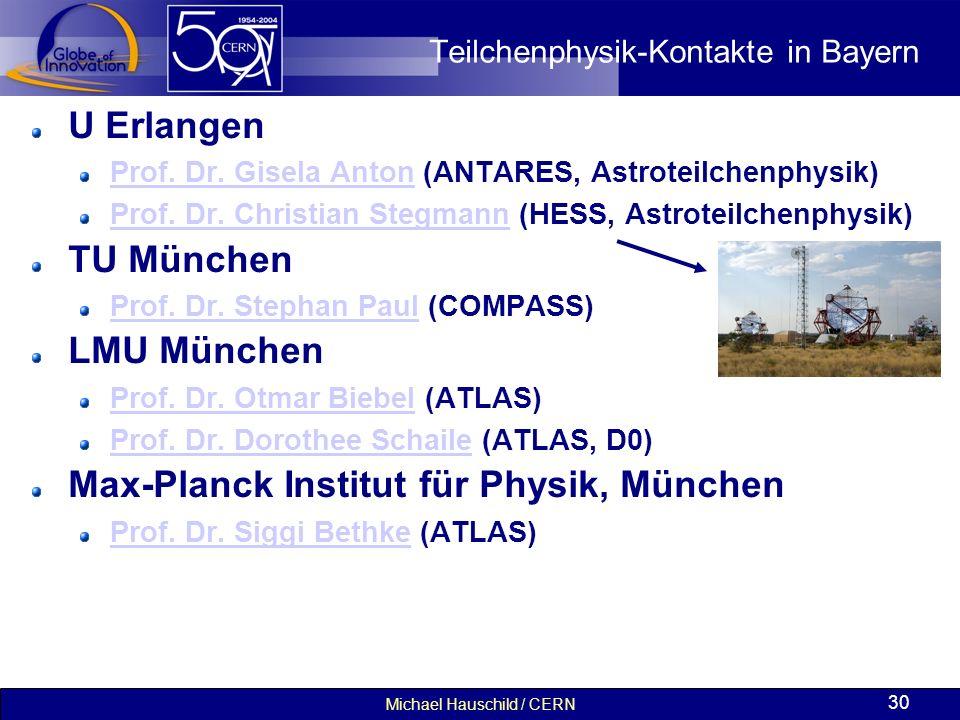 Michael Hauschild / CERN 30 Teilchenphysik-Kontakte in Bayern U Erlangen Prof. Dr. Gisela AntonProf. Dr. Gisela Anton (ANTARES, Astroteilchenphysik) P