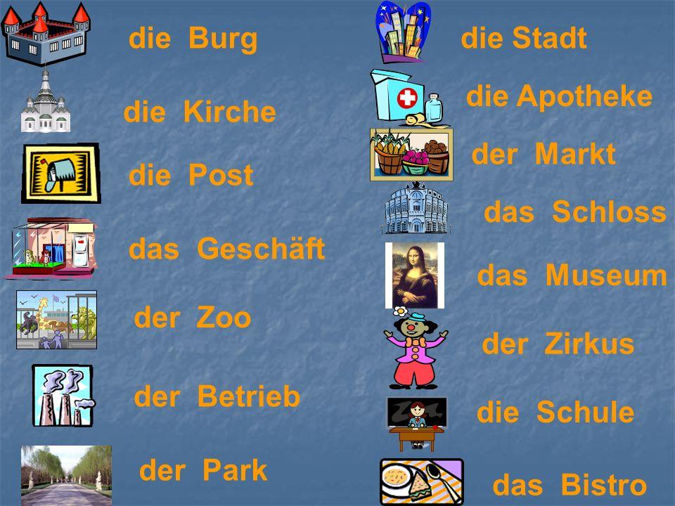 das Schloss der Park die Kirche die Post die Apotheke das Geschäft das Museum der Zoo das Bistro die Burg der Betrieb der Markt die Stadt der Zirkus d