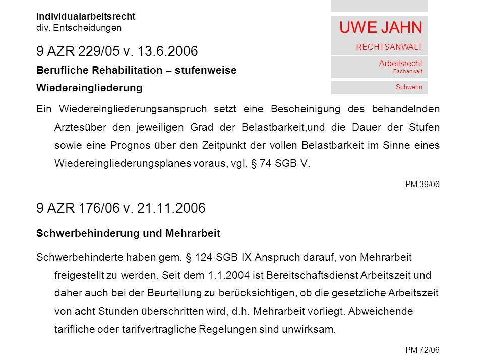 UWE JAHN RECHTSANWALT Arbeitsrecht Fachanwalt Schwerin 9 AZR 229/05 v.