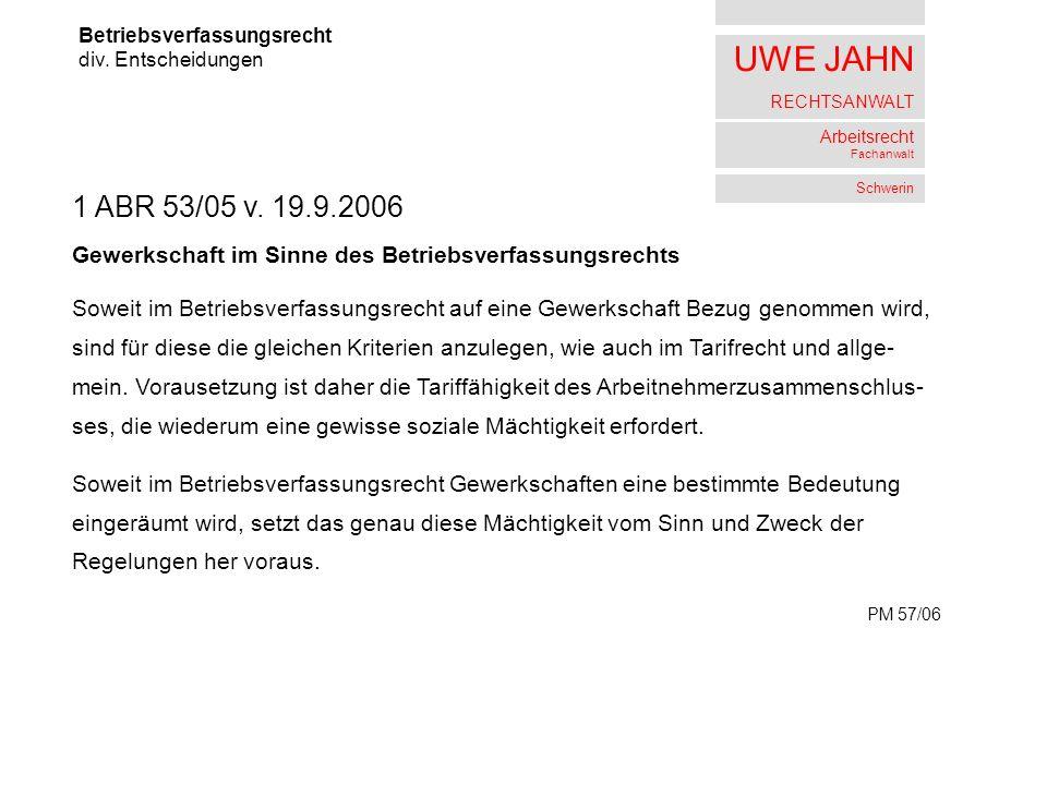 UWE JAHN RECHTSANWALT Arbeitsrecht Fachanwalt Schwerin Betriebsverfassungsrecht div.