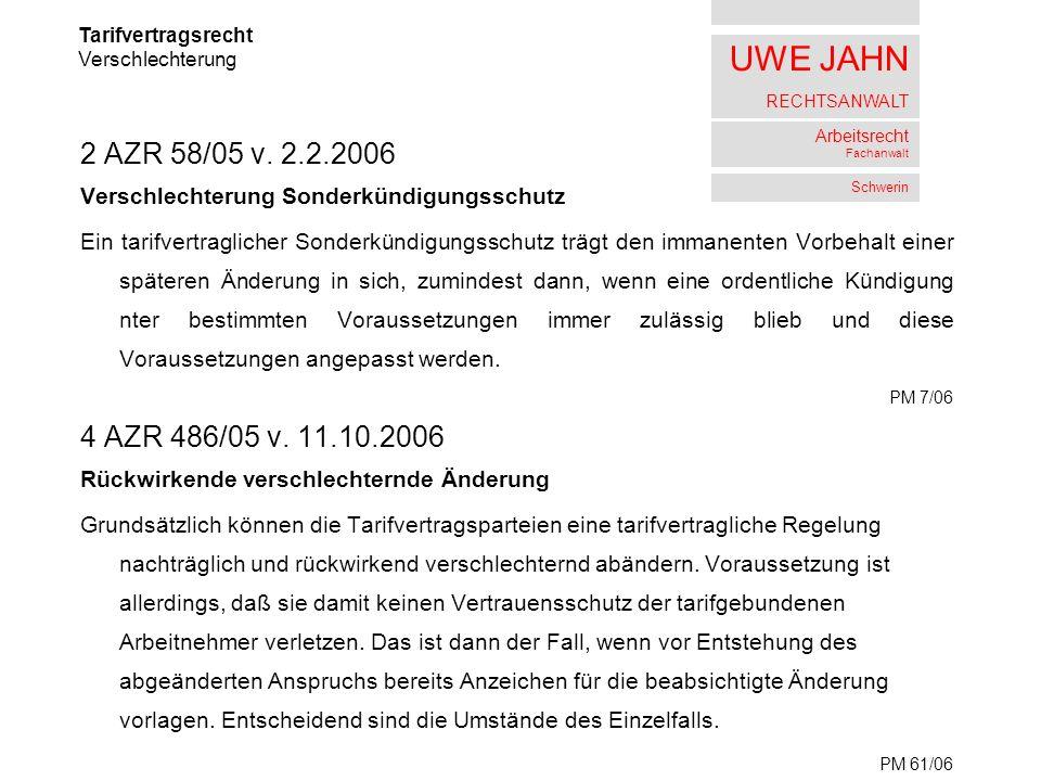 UWE JAHN RECHTSANWALT Arbeitsrecht Fachanwalt Schwerin 2 AZR 58/05 v.