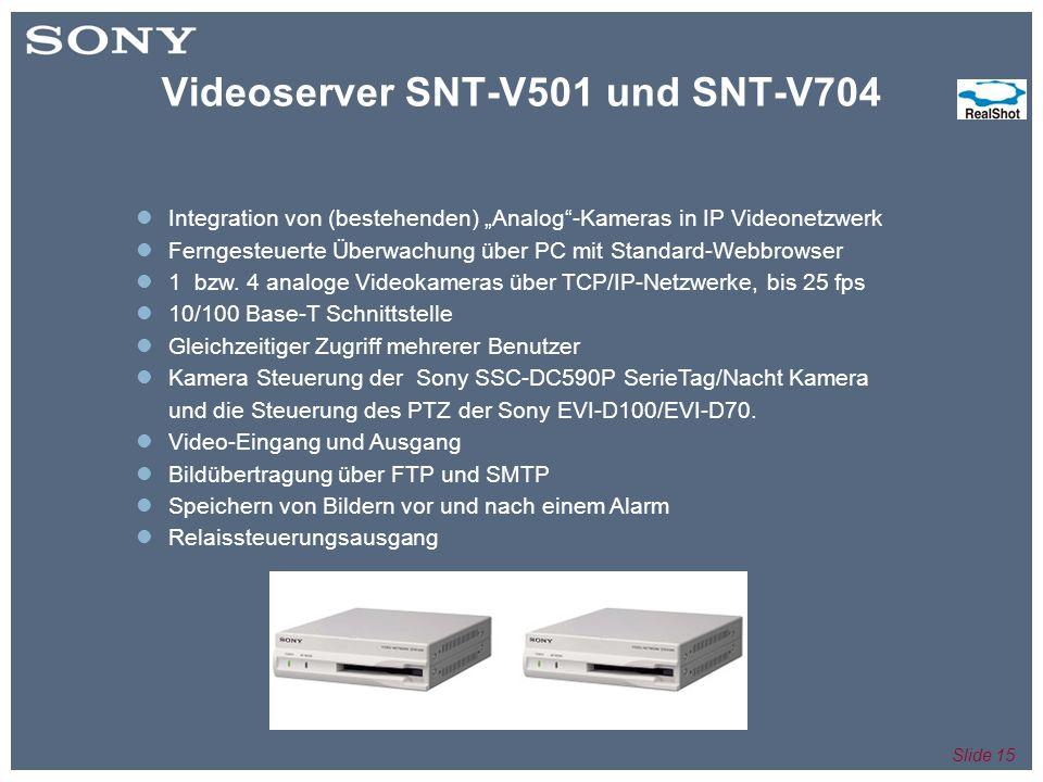 Slide 15 Integration von (bestehenden) Analog-Kameras in IP Videonetzwerk Ferngesteuerte Überwachung über PC mit Standard-Webbrowser 1 bzw.