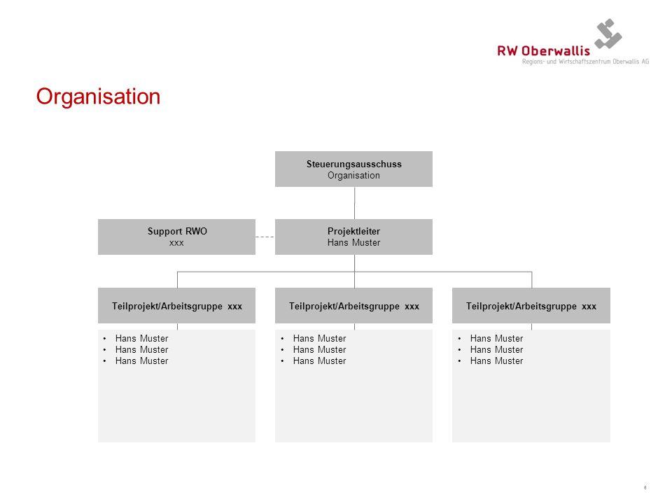 Organisation 6 Teilprojekt/Arbeitsgruppe xxx Steuerungsausschuss Organisation Projektleiter Hans Muster Teilprojekt/Arbeitsgruppe xxx Support RWO xxx