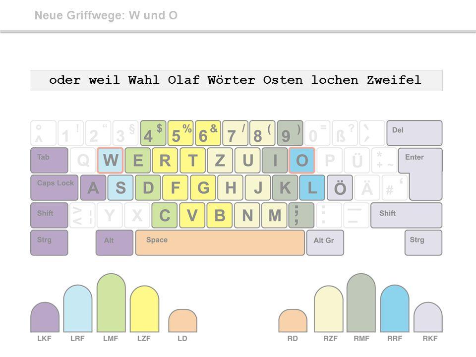 Neue Griffwege: W und O oder weil Wahl Olaf Wörter Osten lochen Zweifel