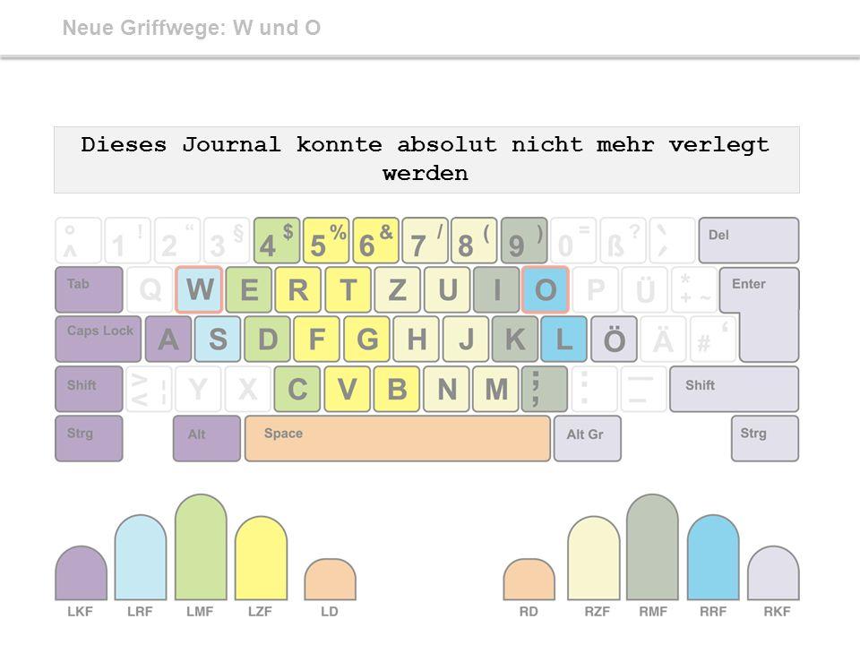 Neue Griffwege: W und O Dieses Journal konnte absolut nicht mehr verlegt werden