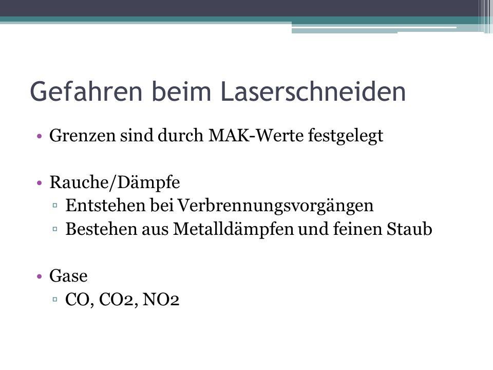 Gefahren beim Laserschneiden Grenzen sind durch MAK-Werte festgelegt Rauche/Dämpfe Entstehen bei Verbrennungsvorgängen Bestehen aus Metalldämpfen und