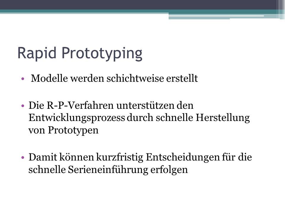 Rapid Prototyping Modelle werden schichtweise erstellt Die R-P-Verfahren unterstützen den Entwicklungsprozess durch schnelle Herstellung von Prototype