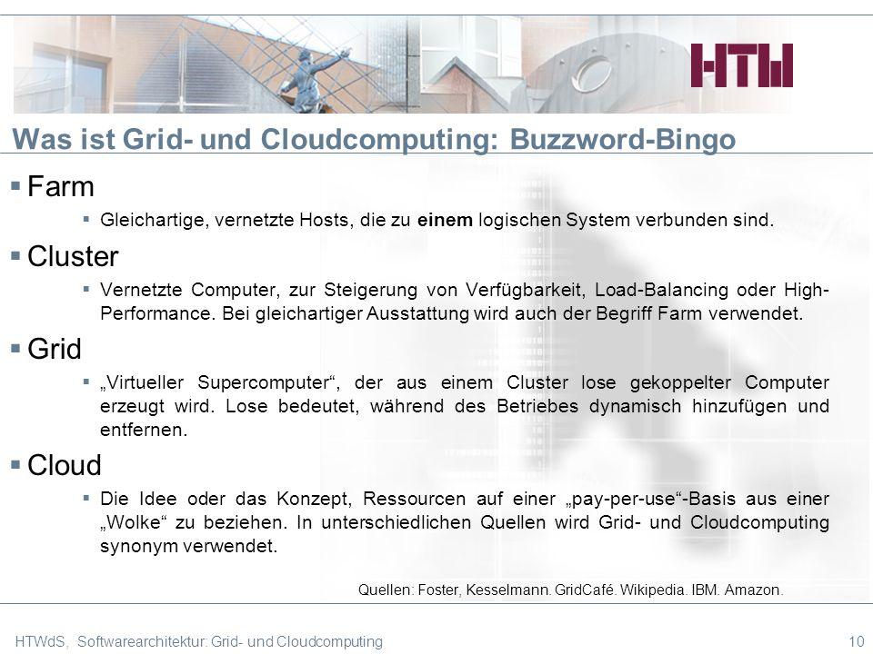 Was ist Grid- und Cloudcomputing: Buzzword-Bingo Farm Gleichartige, vernetzte Hosts, die zu einem logischen System verbunden sind.