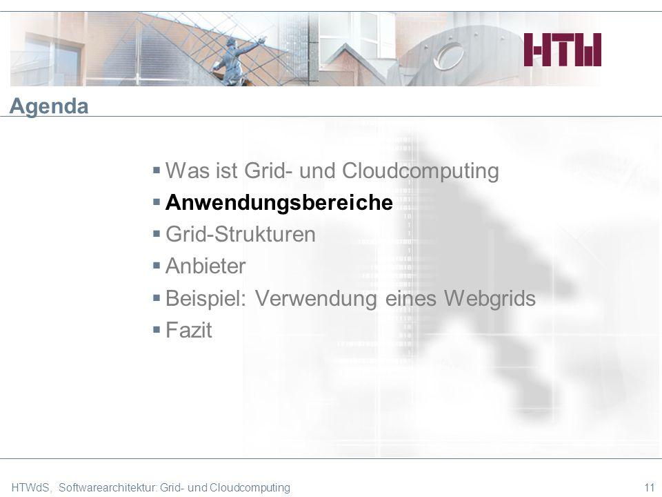 HTWdS, Softwarearchitektur: Grid- und Cloudcomputing11 Agenda Was ist Grid- und Cloudcomputing Anwendungsbereiche Grid-Strukturen Anbieter Beispiel: Verwendung eines Webgrids Fazit