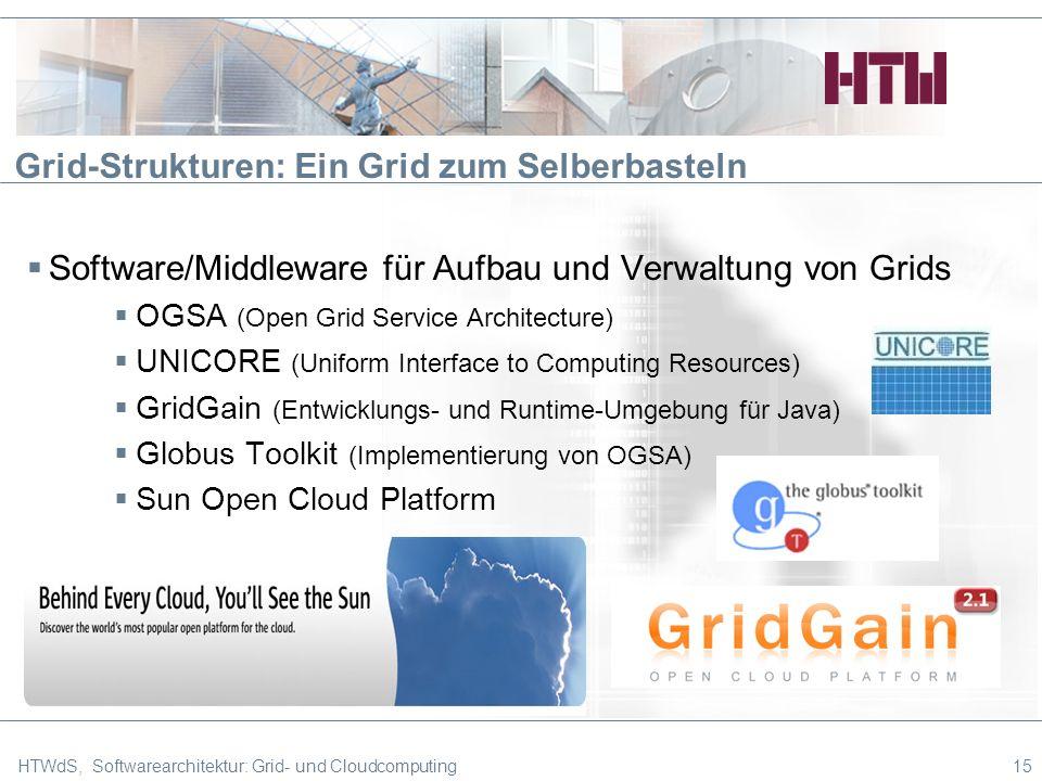 Grid-Strukturen: Ein Grid zum Selberbasteln Software/Middleware für Aufbau und Verwaltung von Grids OGSA (Open Grid Service Architecture) UNICORE (Uniform Interface to Computing Resources) GridGain (Entwicklungs- und Runtime-Umgebung für Java) Globus Toolkit (Implementierung von OGSA) Sun Open Cloud Platform HTWdS, Softwarearchitektur: Grid- und Cloudcomputing15