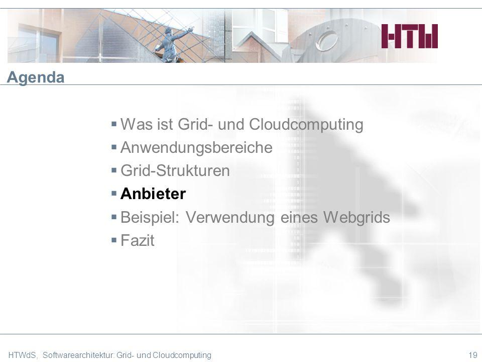 HTWdS, Softwarearchitektur: Grid- und Cloudcomputing19 Agenda Was ist Grid- und Cloudcomputing Anwendungsbereiche Grid-Strukturen Anbieter Beispiel: Verwendung eines Webgrids Fazit